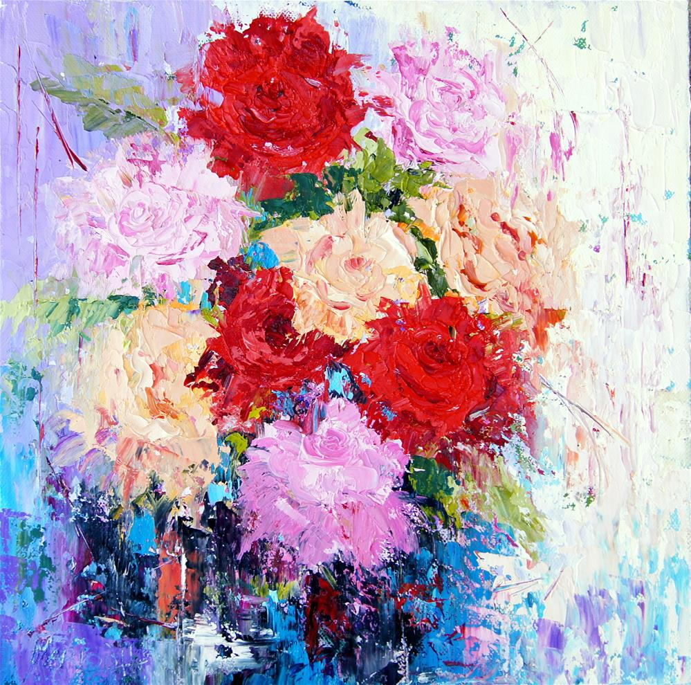 """Colourful Abstract Roses"" original fine art by Marion Hedger"