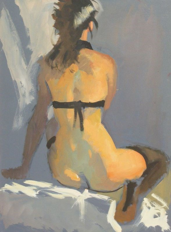 """Seated nude back"" original fine art by Peter Orrock"