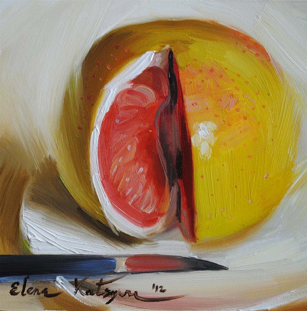 """""""Grapefruit"""" original fine art by Elena Katsyura"""