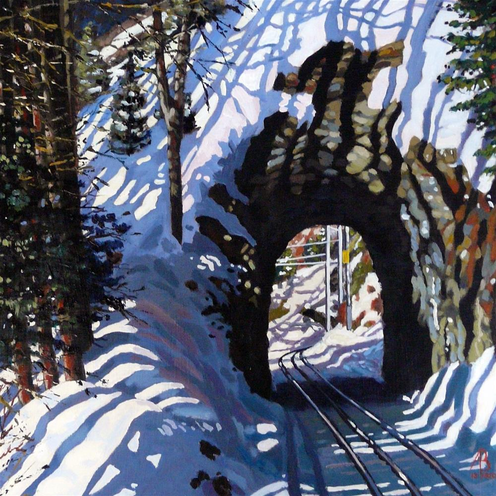 """The Gornergrat railway, above Zermatt"" original fine art by Alix Baker"
