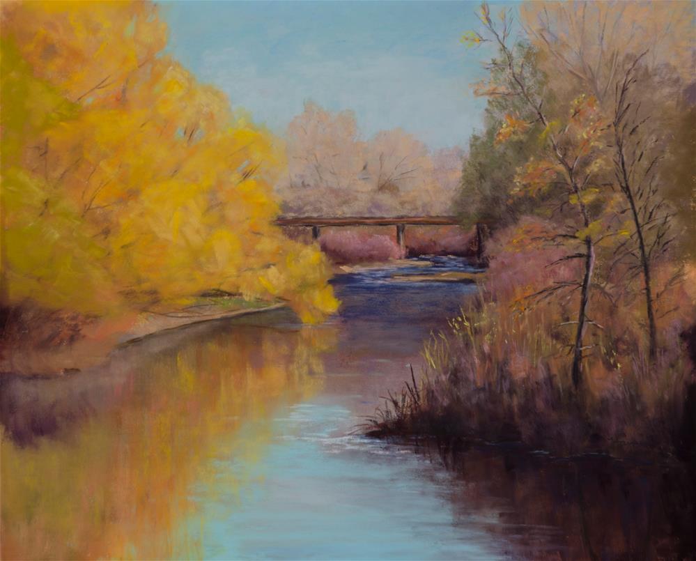 """""""Riverbend Crossing"""" original fine art by Nelia Harper"""