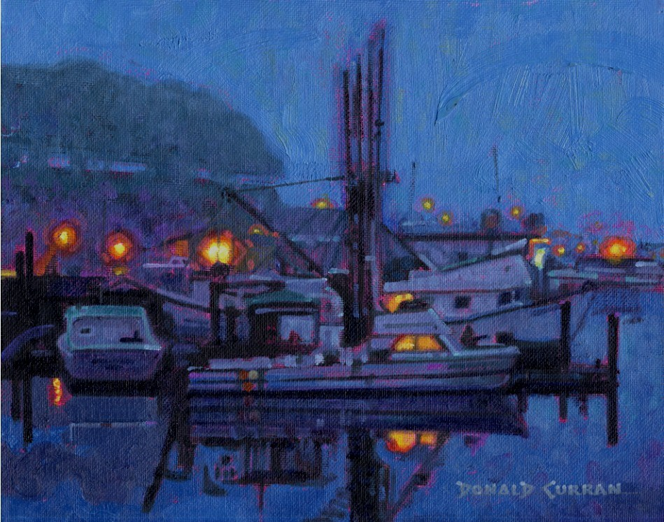 """Harbor Lights"" original fine art by Donald Curran"