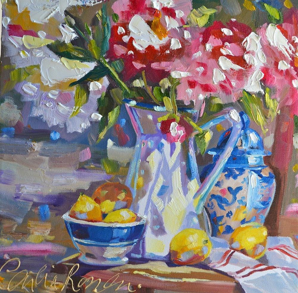 DELFT AND PEONIES original fine art by Cecilia Rosslee