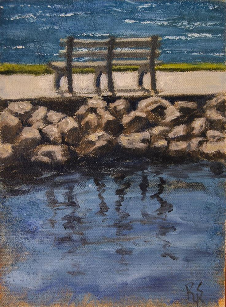 """Bench Overlooking Lake"" original fine art by Rachel Steely"