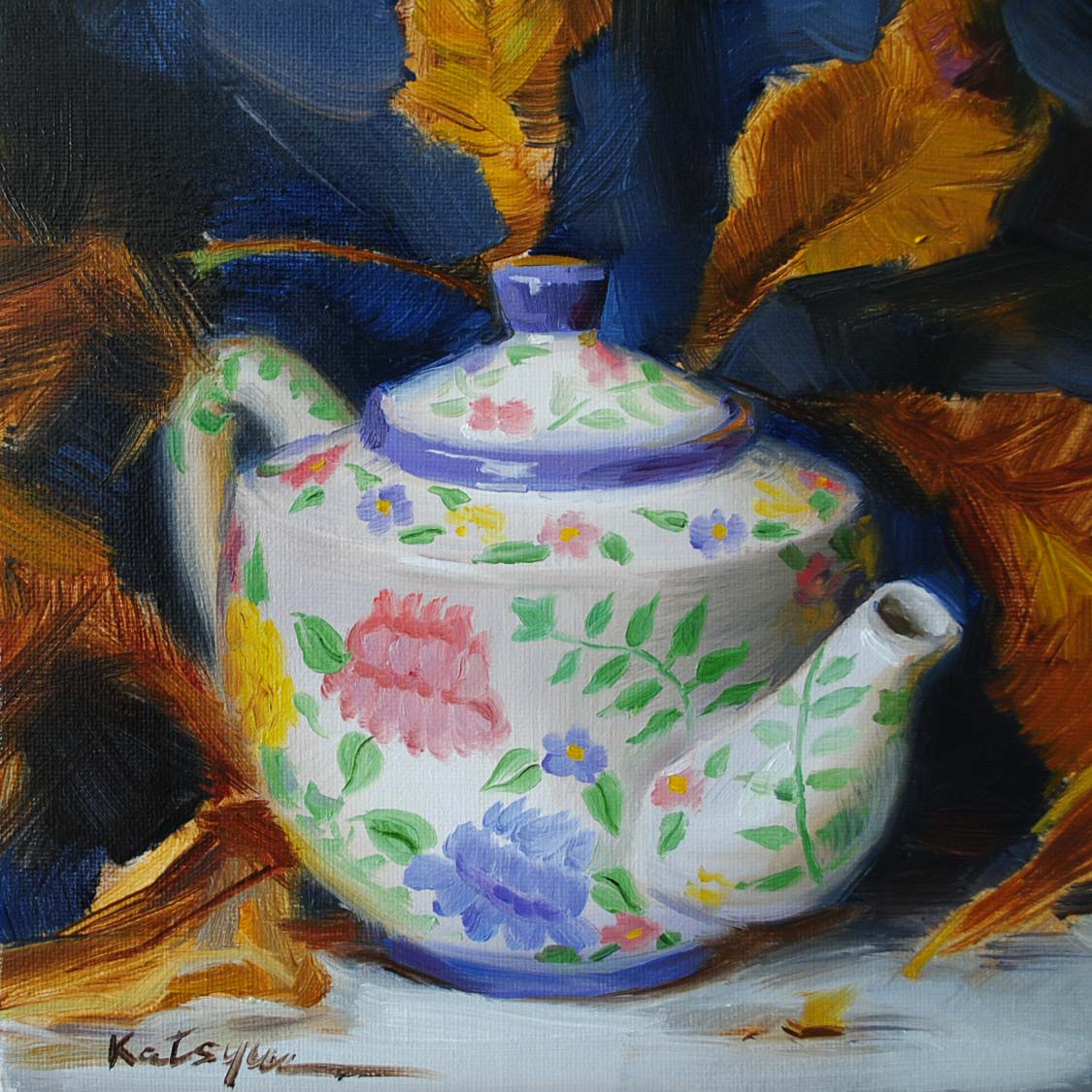 """Teapot & Autumn Leaves"" original fine art by Elena Katsyura"