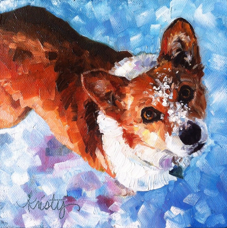 """TALLY IN THE SNOW"" original fine art by Kristy Tracy"