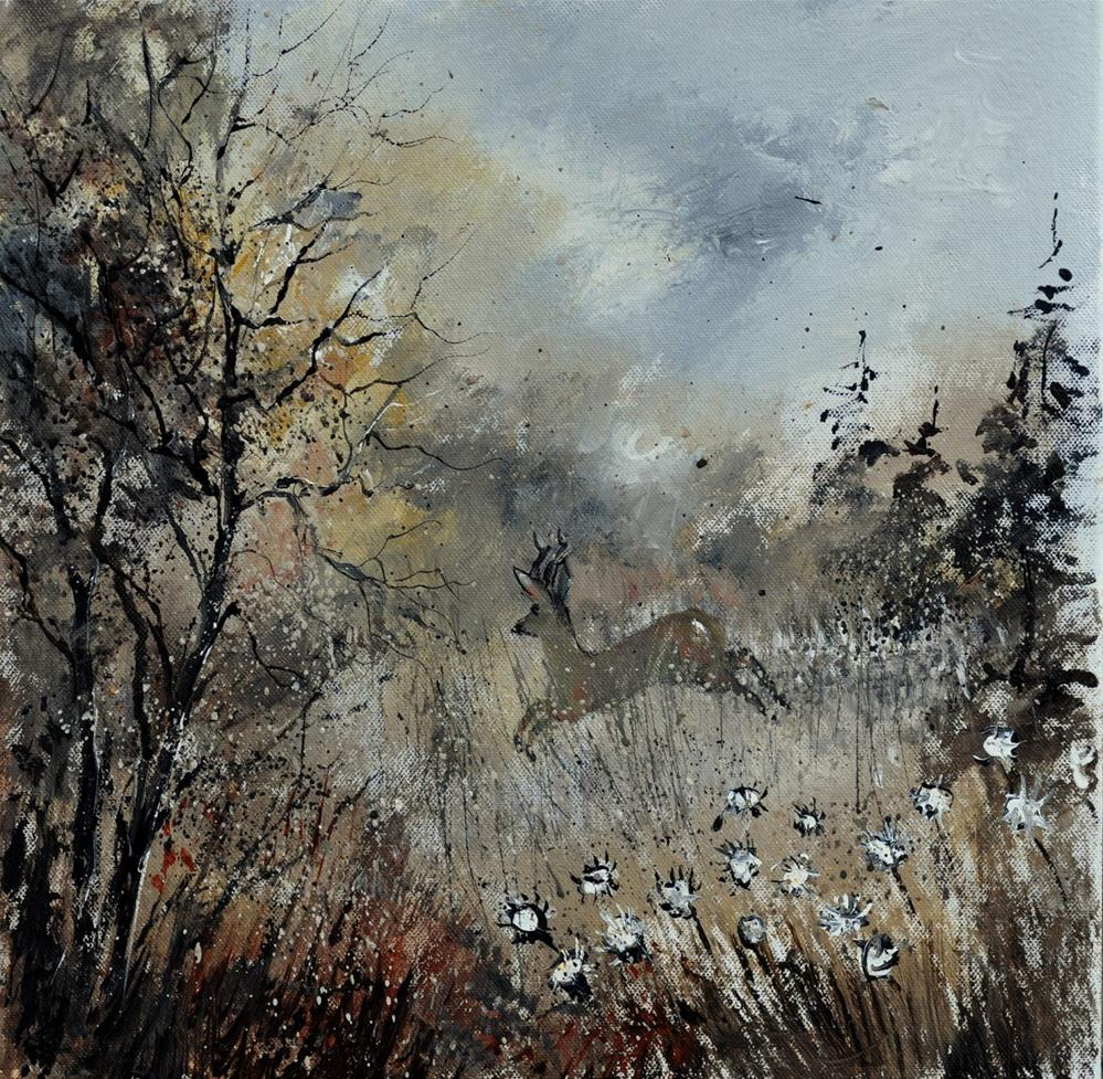 """springing roe deer"" original fine art by Pol Ledent"