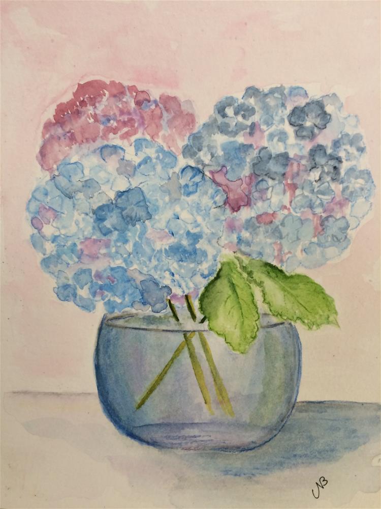 """""""Hydrangea #2  watercolor / ink 8 x 6"""" original fine art by Nancy Beard"""