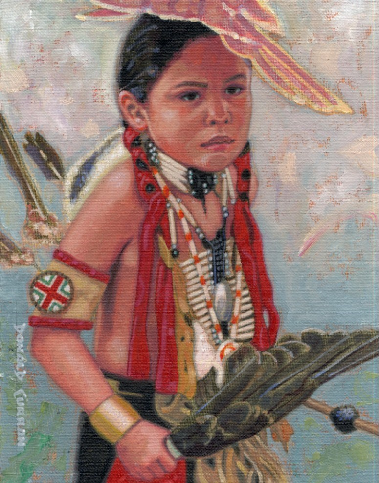 """Native American Indian Boy"" original fine art by Donald Curran"