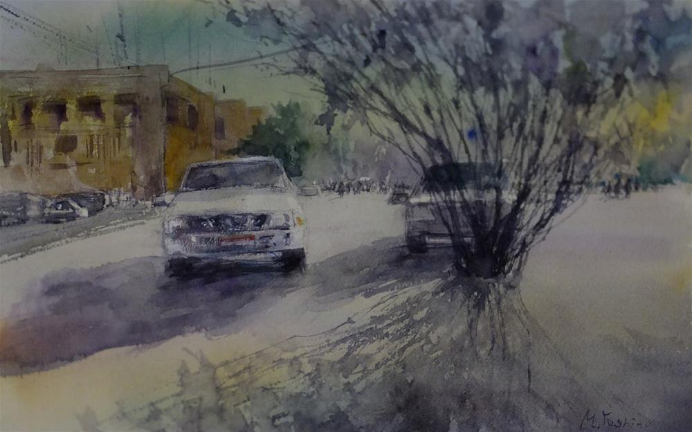 """Al Jimi Municipality area,Al Ain."" original fine art by Midori Yoshino"