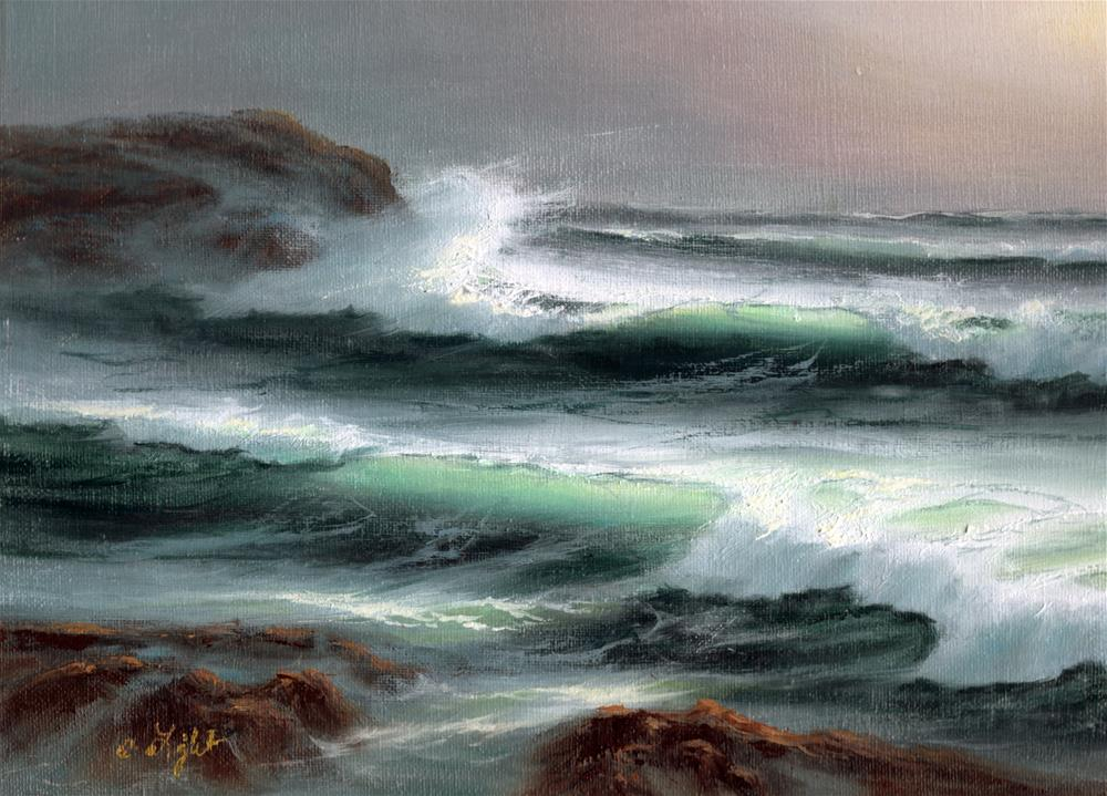 """Sunrise Waves"" original fine art by Charlotte Light"