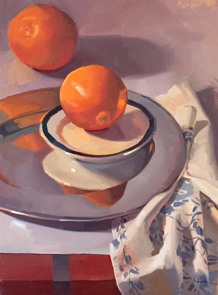 """Orange Orbit oil painting and work-in-progress, notan to finish"" original fine art by Sarah Sedwick"