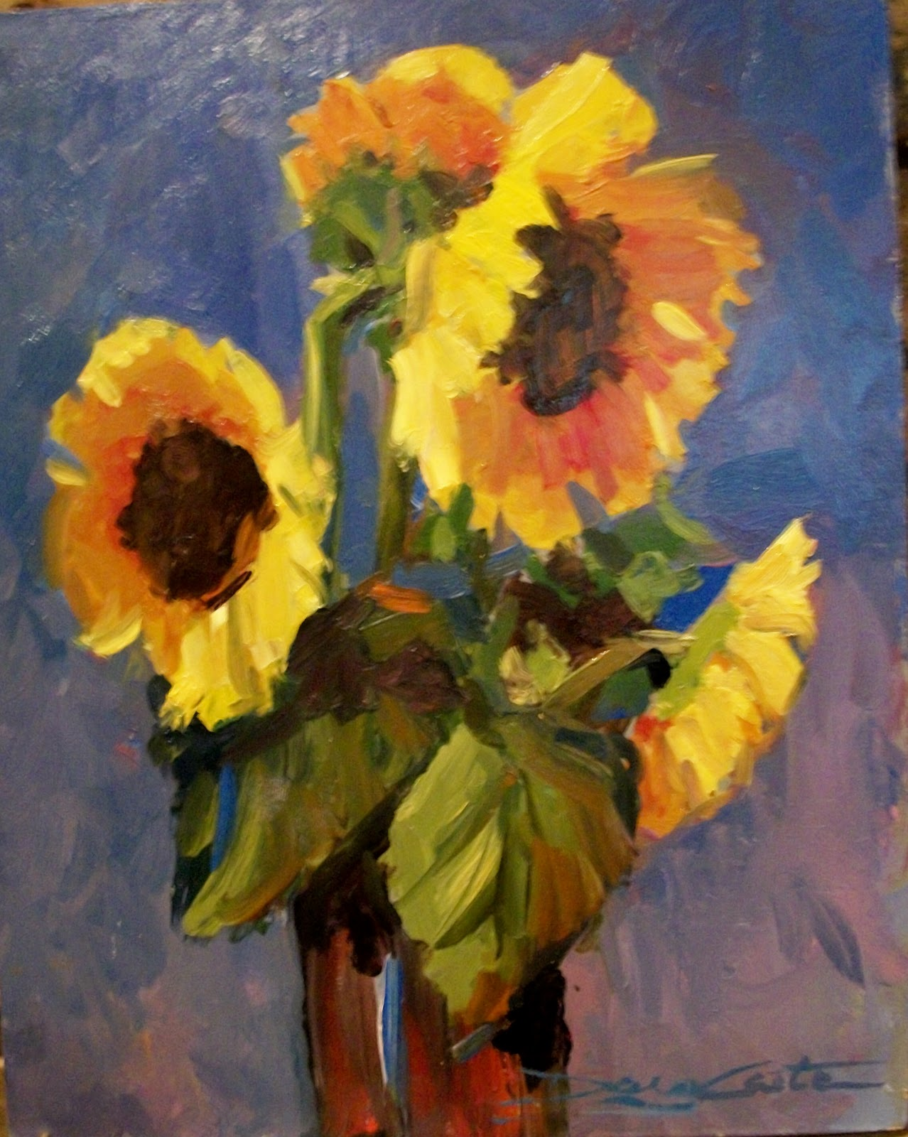 """ HOT SUNFLOWERS"" original fine art by Doug Carter"