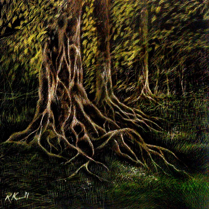 """Tree Roots"" original fine art by Bob Kimball"