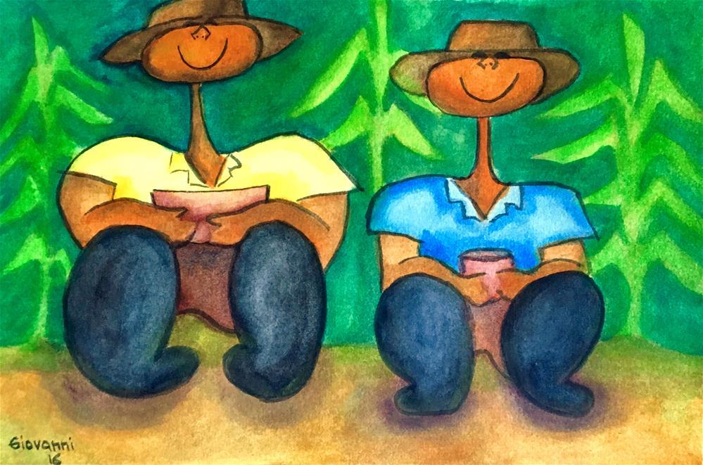 """""""Father and son (cornfield lunch break)"""" original fine art by Giovanni Antunez"""