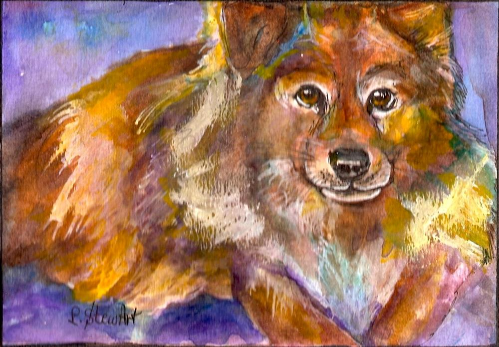 """5x7 Heidi's Dog Watercolor, Pen and Ink Pet Portrait by Penny Lee StewArt"" original fine art by Penny Lee StewArt"