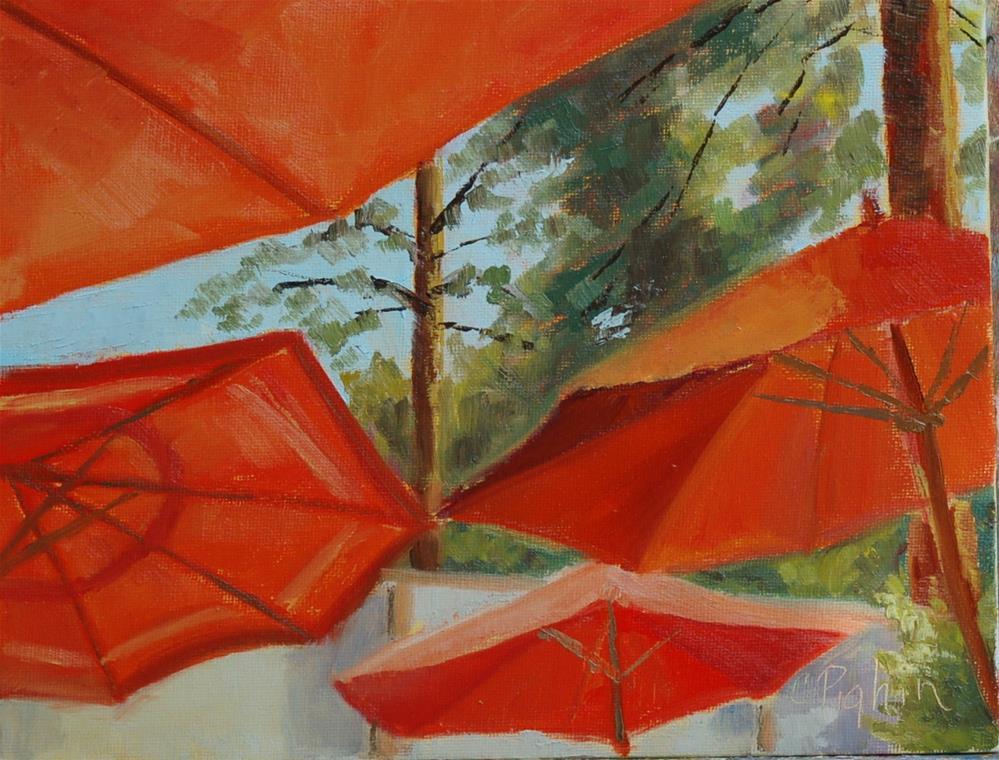 """Backyard Umbrellas"" original fine art by Carol Pighin"