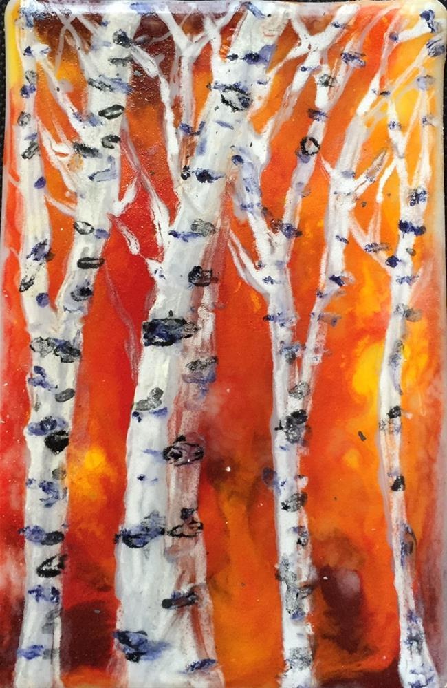 """Fiery Birches"" original fine art by Kristen Dukat"