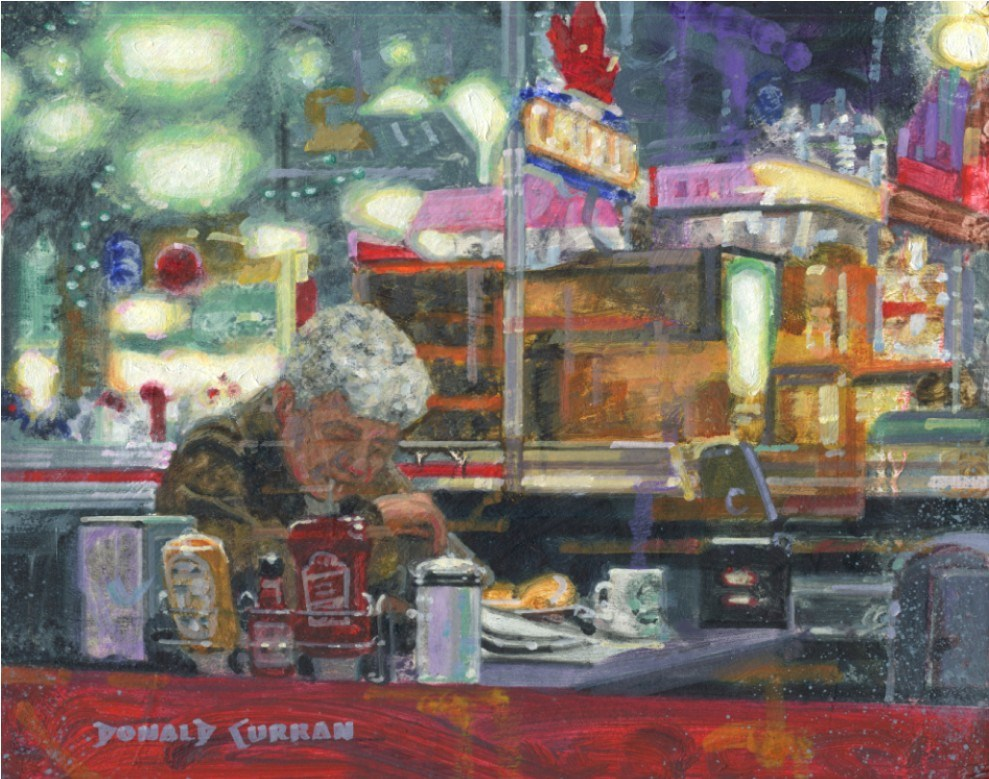 """Greasy Spoon Diner"" original fine art by Donald Curran"