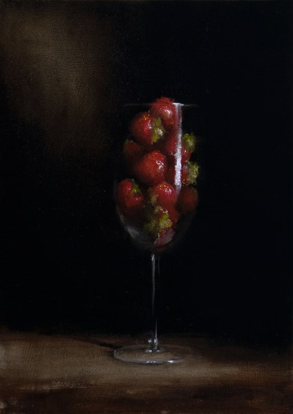 """Glass of Strawberries"" original fine art by Neil Carroll"