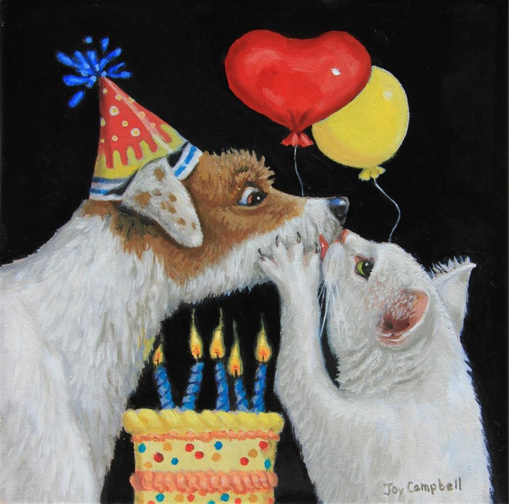 """The Birthday Kiss"" original fine art by Joy Campbell"