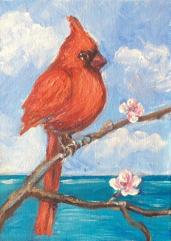 """Red Cardinal"" original fine art by Sonia von Walter"