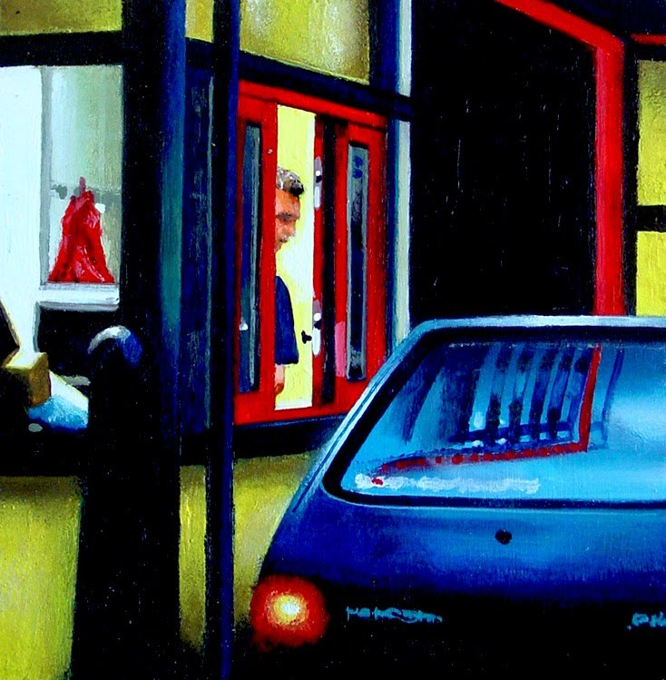 """Drive Through- City Scene Painting Of McDonald's Drive Through"" original fine art by Gerard Boersma"