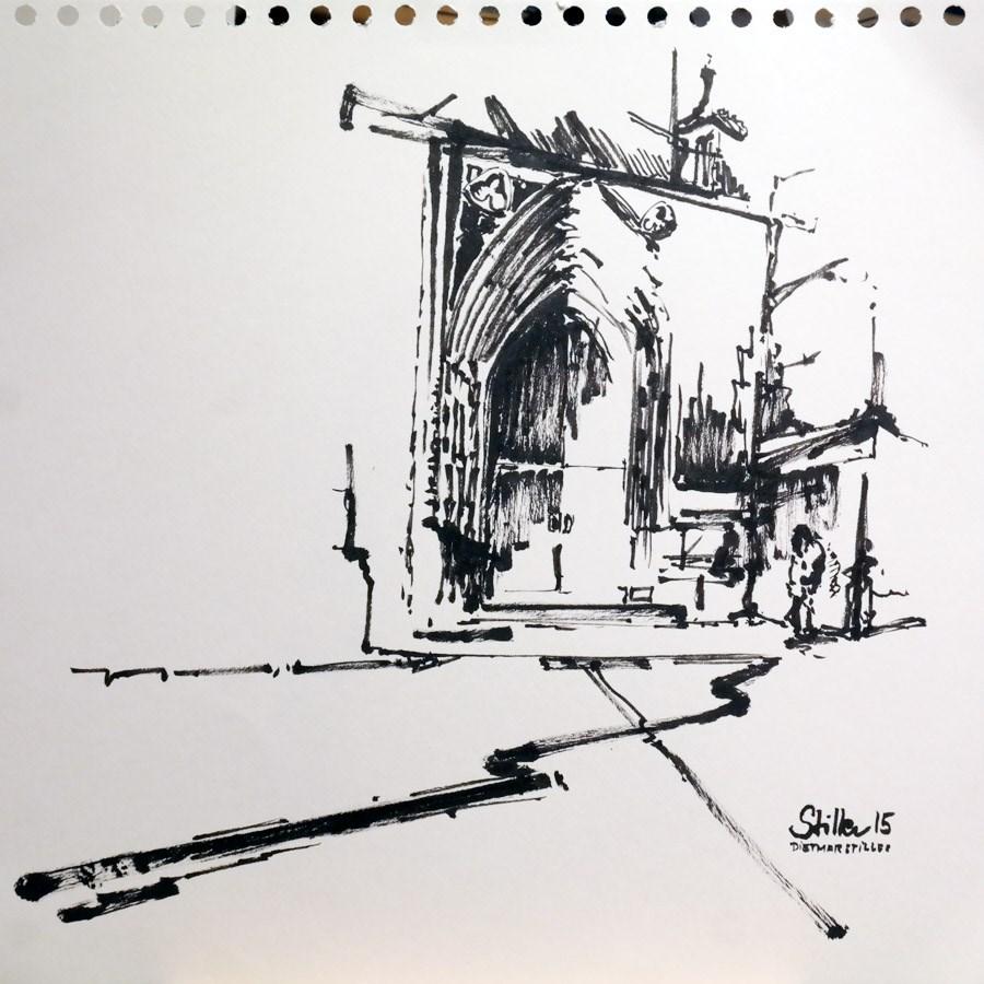 """1429 Market Church Sketch"" original fine art by Dietmar Stiller"