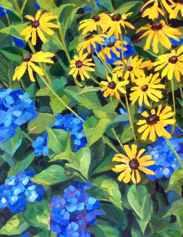 """Hydrangeas and Susans"" original fine art by Kathleen Gray Farthing"