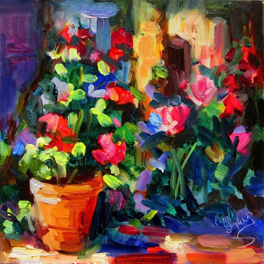 """Flower Pot Near the Window"" original fine art by Carol Steinberg"