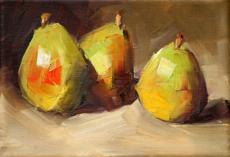 """tres pears"" original fine art by Carol Carmichael"