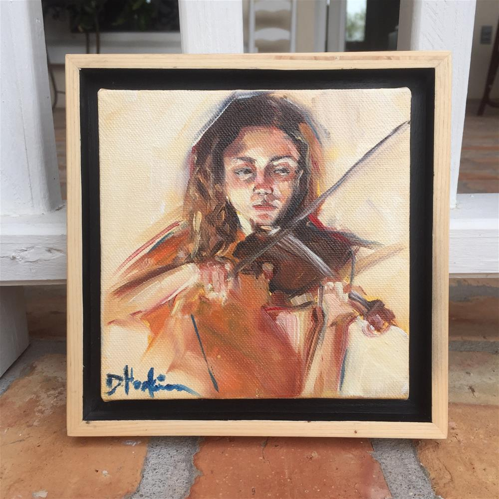 """Violinist, Framed"" original fine art by Denise Hopkins"