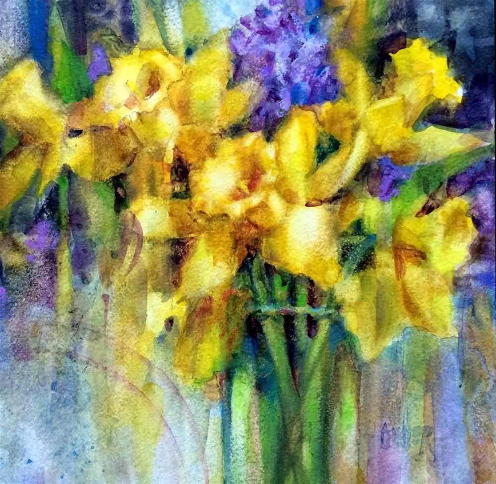 """Watercolor Daffodils"" original fine art by Julie Ford Oliver"