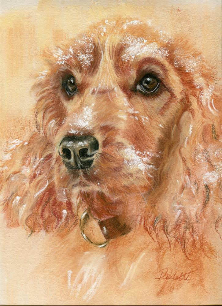 """Snow Spaniel"" original fine art by Paulette Farrell"