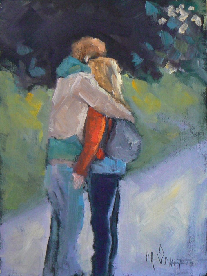 """Painting on Sale, Figurative Art, Daily Painting, Small Oil Painting, Paris is for Lovers, 6x8 Oi"" original fine art by Carol Schiff"