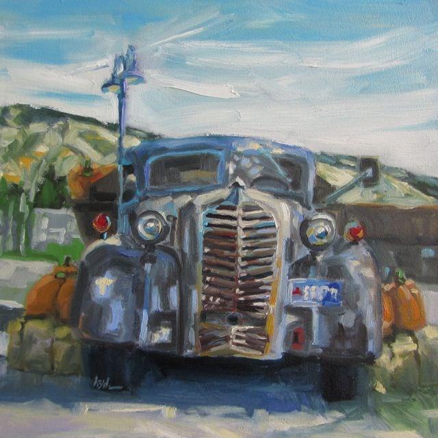 """""""SCHRAGE'S PUMPKIN TRUCK"""" original fine art by Mb Warner"""