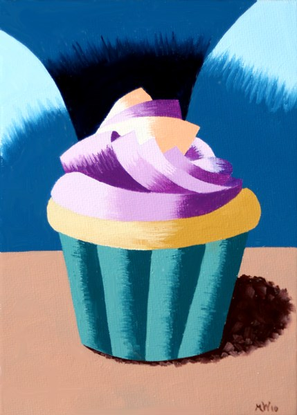 """Mark Adam Webster - Abstract Geometric Cupcake Still Life Oil Painting"" original fine art by Mark Webster"