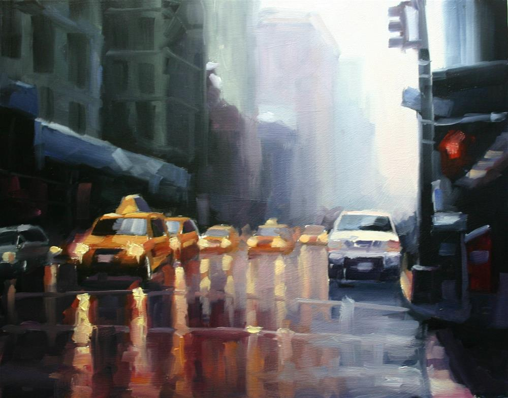 """Rain, East 20th Street, New York"" original fine art by Catherine Jeffrey"