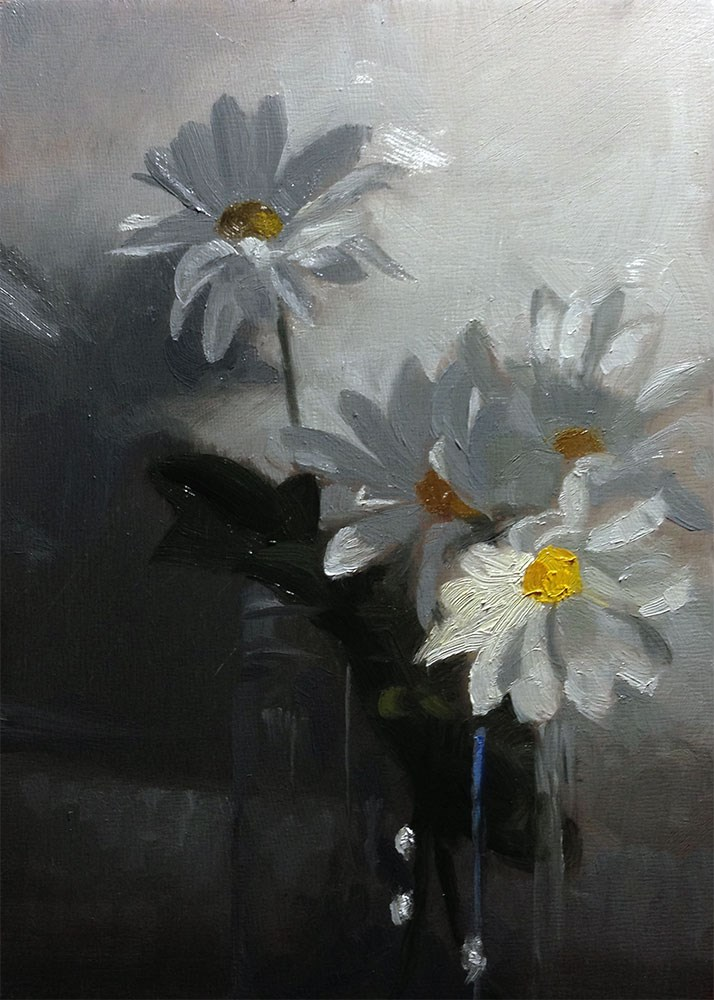 """4 Daisies on White"" original fine art by Chris Beaven"