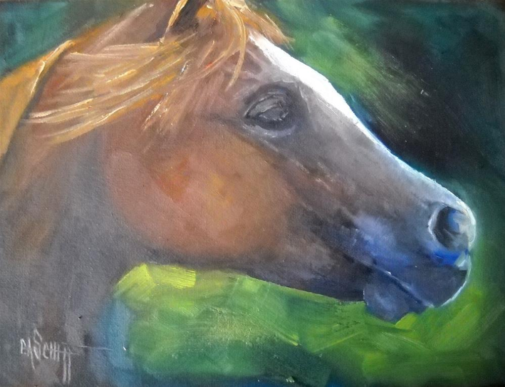 """Horse Portrait, Big Red 6x8 Oil"" original fine art by Carol Schiff"