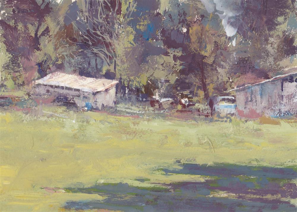 """Soft Light on the Neighbor's Shed"" original fine art by Vinita Pappas"