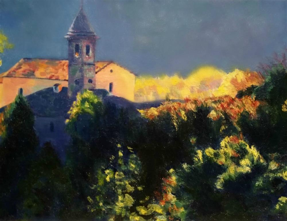 """Little Church on a Hill"" original fine art by Dana C"