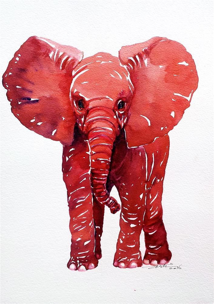 """""""Little Red Elephant"""" original fine art by Arti Chauhan"""