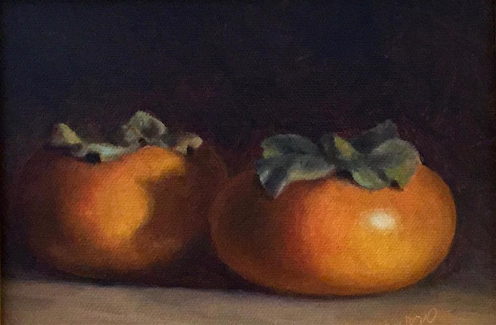 """Two Persimmons"" original fine art by Michelle Garro"