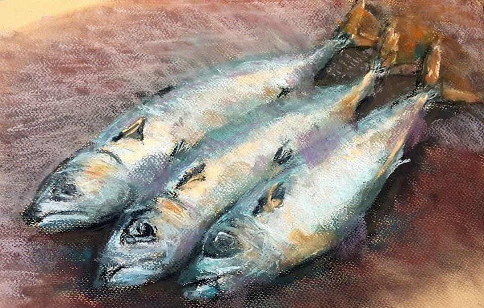 """Fishing in Hentiesbay"" original fine art by Rentia Coetzee"