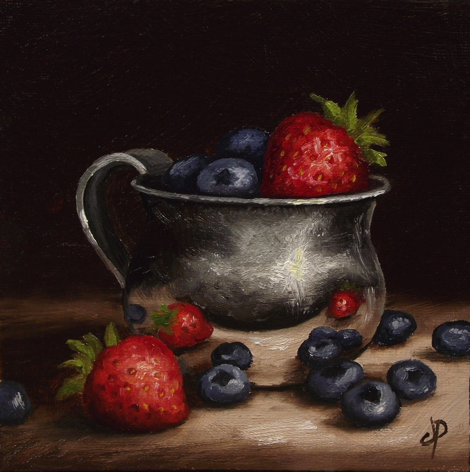 """Berries in a cup"" original fine art by Jane Palmer"