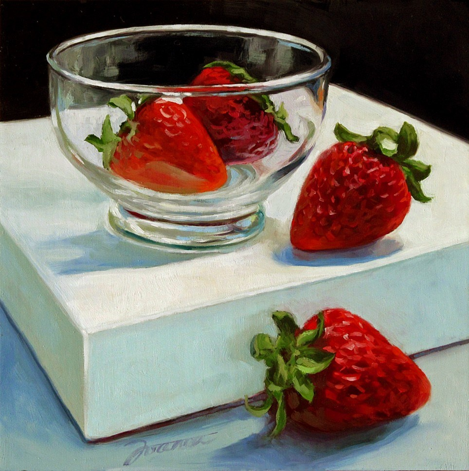 """Four Strawberries With A Dessert Cup"" original fine art by Joanna Bingham"