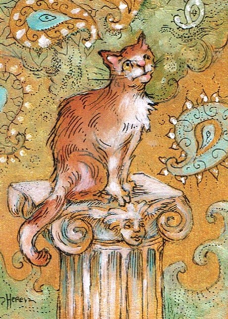 """Kitty Column"" original fine art by Theresa Taylor Bayer"