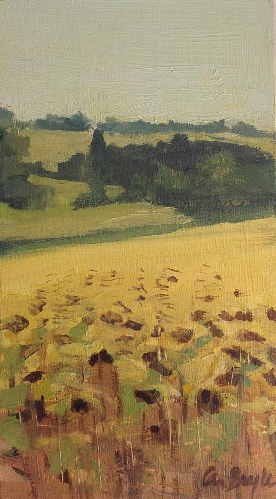 """Dried sunflowers"" original fine art by Christine Bayle"