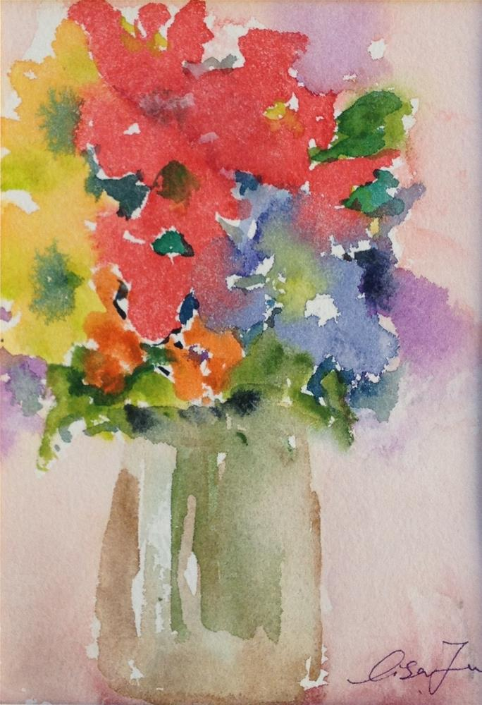 """flowes in a glass vase"" original fine art by Lisa Fu"